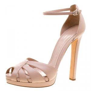 Alexander McQueen Blush Pink Leather Ankle Strap Sandals Size 41