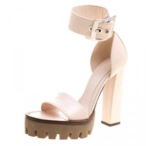Alexander McQueen Blush Pink Leather Ankle Strap Platform Sandals Size 38