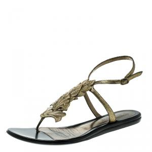 Alexander McQueen Gold Leather Flat Sandals Size 40.5