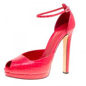 Alexander McQueen Red Python Peep Toe Ankle Strap Platform Sandals Size 40 - used