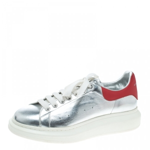 Alexander McQueen Silver/Red Leather Classic Larry Platform Lace Up Sneakers Size 45