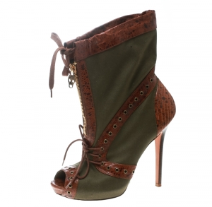 Alexander McQueen Olive Green Eyelet Embellished Canvas And Textured Leather Peep-Toe Booties Size 38