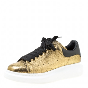 Alexander McQueen Gold/Black Leather Classic Larry Platform Lace Up Sneakers Size 37