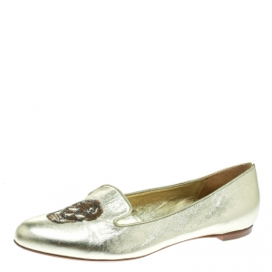 Alexander McQueen Gold Leather Sequin Skull Ballet Loafer Flats Size 39
