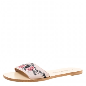 Alexander McQueen Blush Pink Skull Embroidered Leather Poppy Slide Flats Size 37.5
