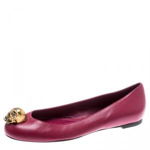 Alexander McQueen Pink Leather Skull City Ballet Flats Size 36