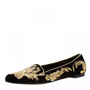 Alexander McQueen Black Suede Embroidered Smoking Slippers Size 39.5