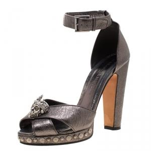 Alexander McQueen Metallic Gunmetal Leather Crystal Embellished Skull Ankle Strap Platform Sandals Size 40 - used
