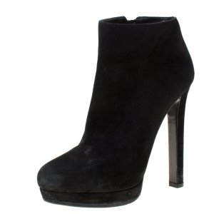 Alexander McQueen Black Suede Platform Ankle Boots Size 38.5 - used
