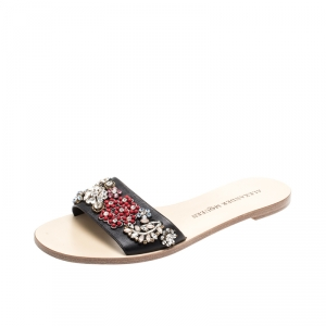 Alexander McQueen Multicolored Floral Embellished Leather Slides Size 38