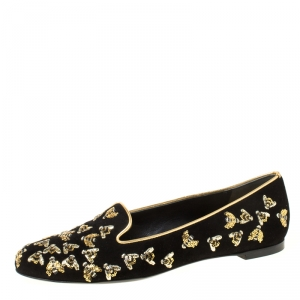 Alexander McQueen Black Bee Embroidered Sequined Suede Slippers Size 37