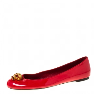 Alexander McQueen Red Leather Skull City Ballet Flats Size 40 - used