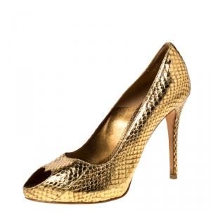 Alexander McQueen Gold Metallic Python Embossed Leather Heart Peep Toe Pumps Size 38.5