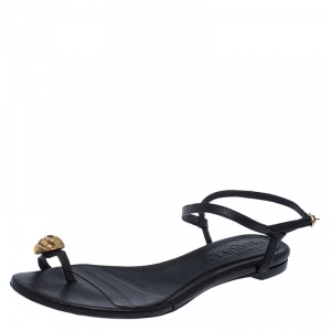Alexander McQueen Black Leather Skull Toe Ring Sandals Size 37