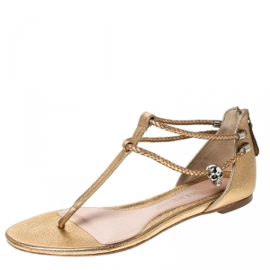Alexander McQueen Metallic Gold Leather Skull Thong Flat Sandals Size 38
