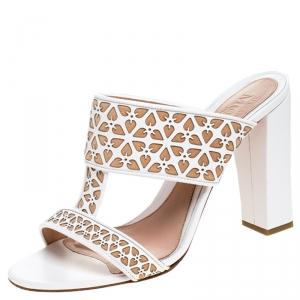 Alexander McQueen White/Beige Laser Cut Leather Block Heel Sandals Size 40 - used