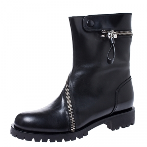 Alexander McQueen Black Leather Curve Skull Zip Ankle Boots Size 40