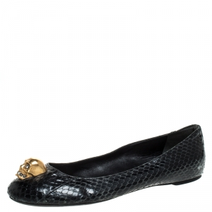 Alexander McQueen Black Python Leather Skull City Ballet Flats Size 39.5