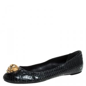 Alexander McQueen Black Python Leather Skull City Ballet Flats Size 39.5