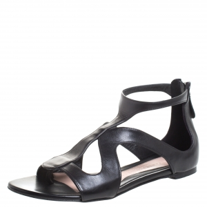 Alexander McQueen Black Leather Cutout Flat Sandals Size 38