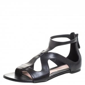 Alexander McQueen Black Leather Cutout Flat Sandals Size 38