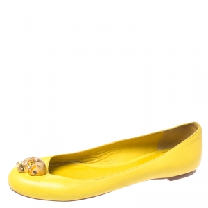 Alexander McQueen Yellow Leather Skull Ballet Flats Size 36
