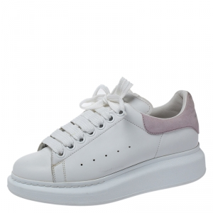 Alexander McQueen White Leather And Pink Suede Platform Sneakers Size 37