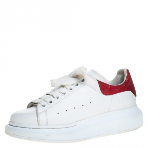 Alexander McQueen White/Red Leather Larry Low Top Sneakers Size 38