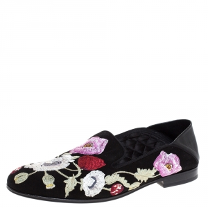 Alexander McQueen Black Floral Embroidered Suede And Leather Smoking Slippers Size 40