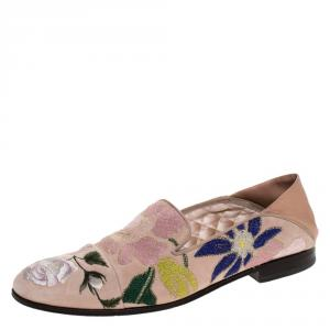 Alexander McQueen Beige Floral Embroidered Embroidered Suede And Leather Smoking Slippers Size 40