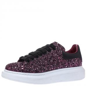 Alexander McQueen Metallic Pink/Black Glitter Platform Lace Up Sneakers Size 39