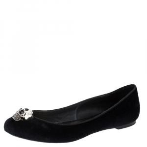 Alexander McQueen Black Suede Leather Skull Ballet Flats Size 39