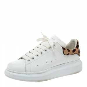 Alexander McQueen White Leather and Leopard Print Calf Hair Sneakers Size 41.5