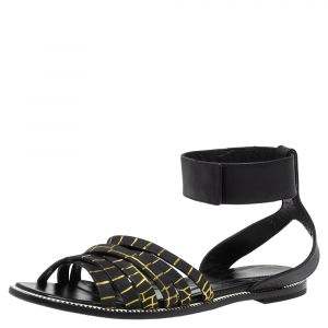 McQ by Alexander McQueen Croc Embossed Leather Erin Ankle Strap Flat Sandals Size 41 - used