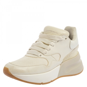 Alexander McQueen White Leather and Fabric Oversized Runner Low Top Sneakers Size 36