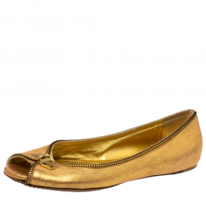 Alexander McQueen Metallic Gold Leather Skull Zip Detail Peep Toe Ballet Flats Size 37.5