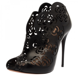 Alexander McQueen Black Floral Laser Cut Leather Peep Toe Booties Size 39 - used