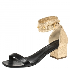 Alexander McQueen Gold/Black Leather Studded Ankle Wrap Sandals 39