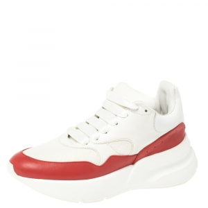 Alexander McQueen White/Red Leather And Mesh Oversized Runner Low Top Sneakers Size 38