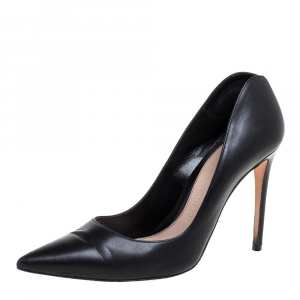 Alexander McQueen Black Leather Pointed Toe Pumps Size 37.5