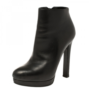 Alexander McQueen Black Leather Platform Ankle Boots Size 36 - used