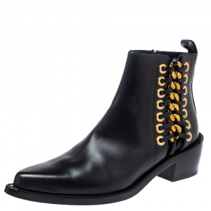 Alexander Mcqueen Black Leather Braided Chain Chelsea Boots Size 36 - used