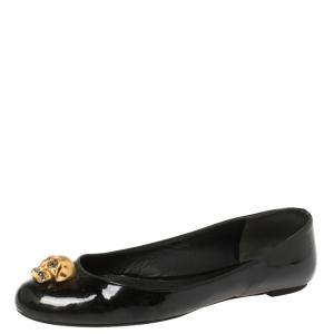 Alexander McQueen Black Patent Leather Embellished Skull City Ballet Flats Size 40