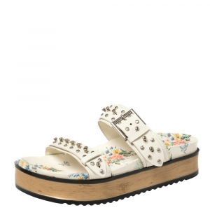 Alexander McQueen White Leather Studded Platform Flat Sandals Size 41 - used