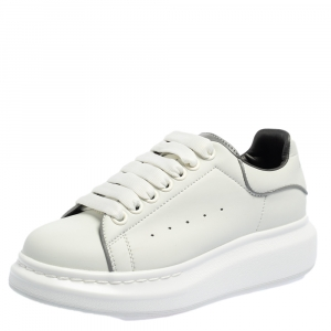 Alexander McQueen White Leather Lace Up Platform Sneakers Size 37