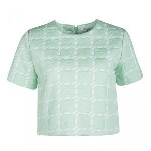 T by Alexander Wang Peppermint Green Jumbo Houndstooth Pattern Crop Top S