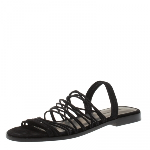 Alexander Wang Black Strappy Suede Tessa Flat Sandals Size 38.5