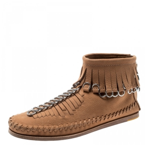 Alexander Wang Light Brown Leather Montana Moccasin Fringe Boots Size 37