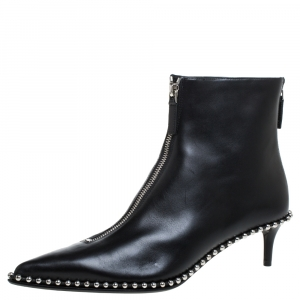 Alexander Wang Black Leather Eri Studded Pointed Toe Ankle Boots Size 39.5