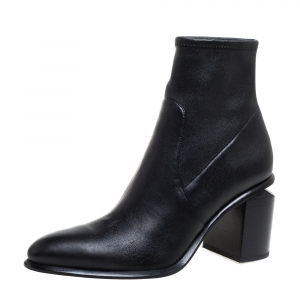 Alexander Wang Black Leather Stretch Anna Ankle Boots Size 38